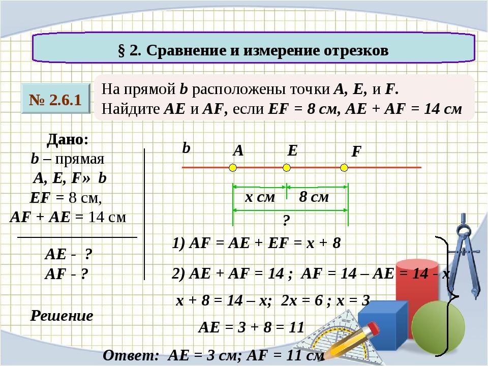 № 2.6.1 § 2. Сравнение и измерение отрезков На прямой b расположены точки A,...