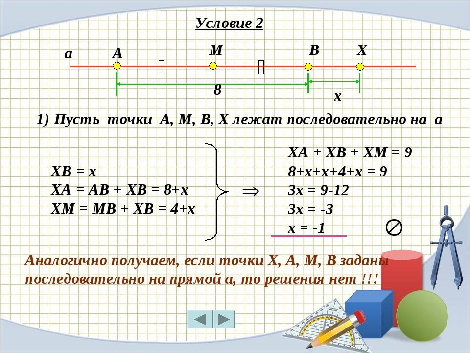 А М В ‖ ‖ а Х ХА + ХВ + ХМ = 9 8+х+х+4+х = 9 3х = 9-12 3х = -3 х = -1 8 х ХВ...