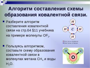 Алгоритм составления схемы образования ковалентной связи. Разберите алгоритм