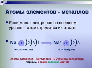 Атомы элементов - металлов Если мало электронов на внешнем уровне – атом стре