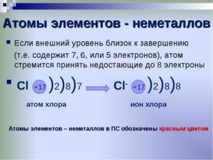 Атомы элементов - неметаллов Если внешний уровень близок к завершению (т.е.