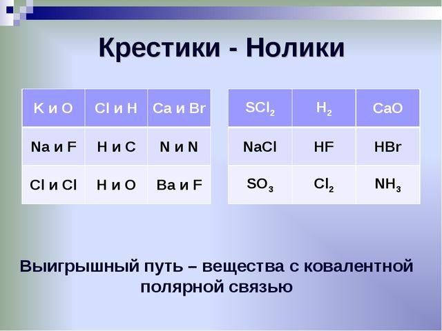Крестики - Нолики Выигрышный путь – вещества с ковалентной полярной связью K...
