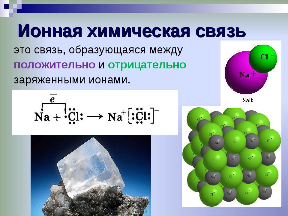 Ионная химическая связь это связь, образующаяся между положительно и отрицате...