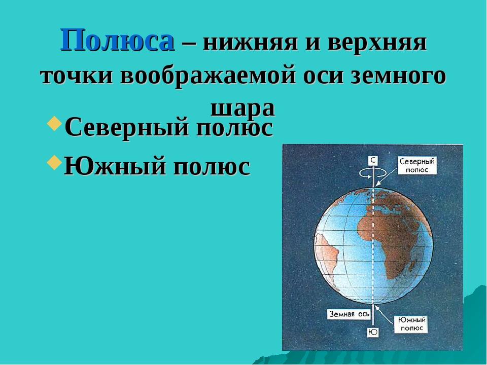 Полюса – нижняя и верхняя точки воображаемой оси земного шара Северный полюс...