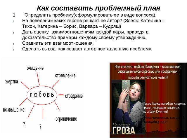Как составить проблемный план 1 Определить проблему(сформулировать ее в виде...