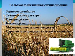 Сельскохозяйственная специализация: Зерновое хозяйство Технические культуры О