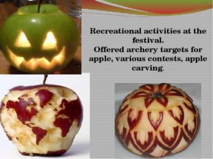 Recreational activities at the festival. Offered archery targets for apple,