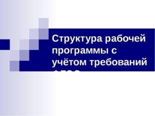 Структура рабочей программы с учётом требований ФГОС