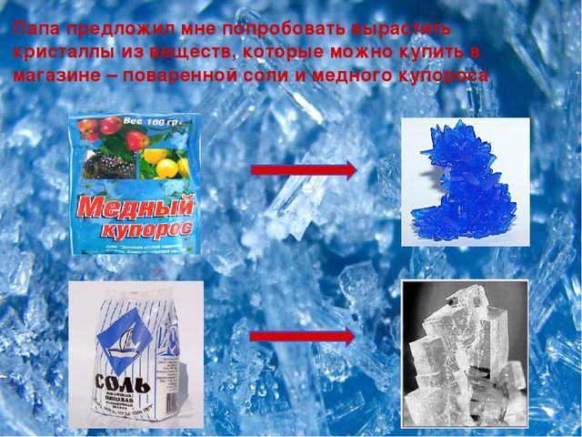 Папа предложил мне попробовать вырастить кристаллы из веществ, которые можно...