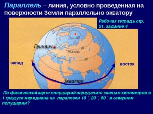 Параллель – линия, условно проведенная на поверхности Земли параллельно экват