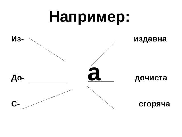 Например: Из- издавна До- а дочиста С- сгоряча