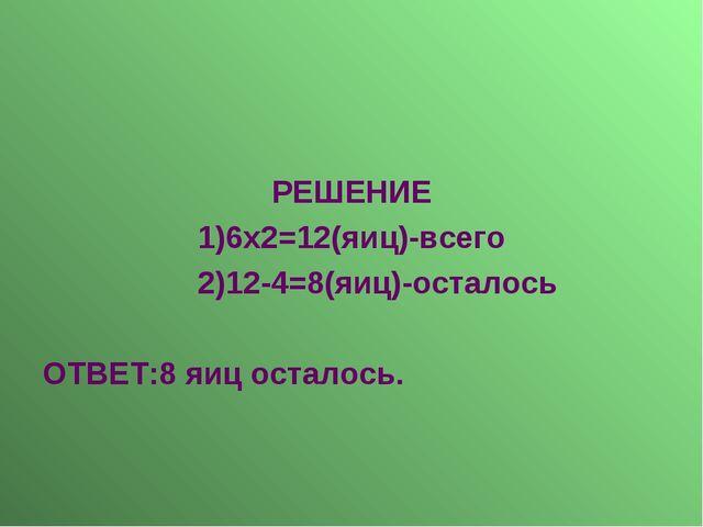 РЕШЕНИЕ 1)6х2=12(яиц)-всего 2)12-4=8(яиц)-осталось ОТВЕТ:8 яиц осталось.