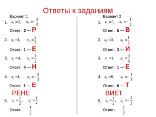 Ответы к заданиям Ответ: 2 — Р 1. 2. Ответ: 1 — Е 3. Ответ: 1 — Е 4. Ответ: 4