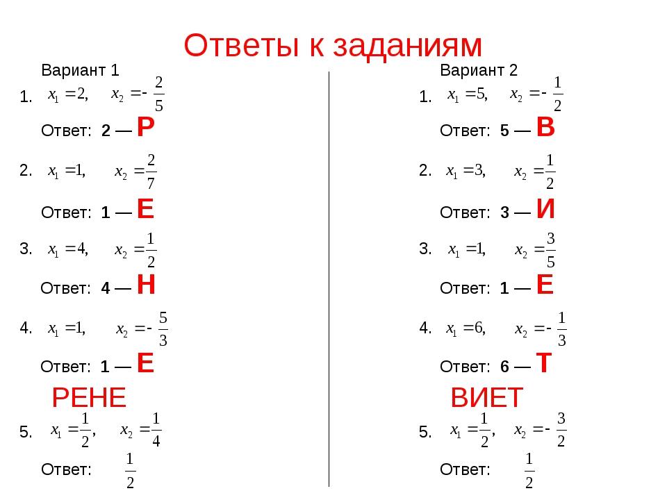 Ответы к заданиям Ответ: 2 — Р 1. 2. Ответ: 1 — Е 3. Ответ: 1 — Е 4. Ответ: 4...