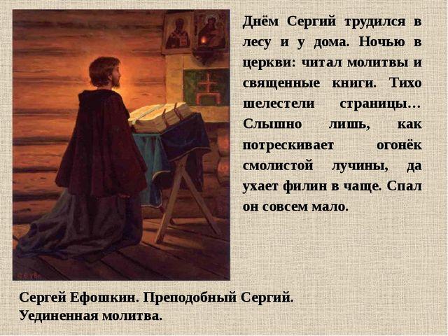 Сергей Ефошкин. Преподобный Сергий. Уединенная молитва. Днём Сергий трудился...