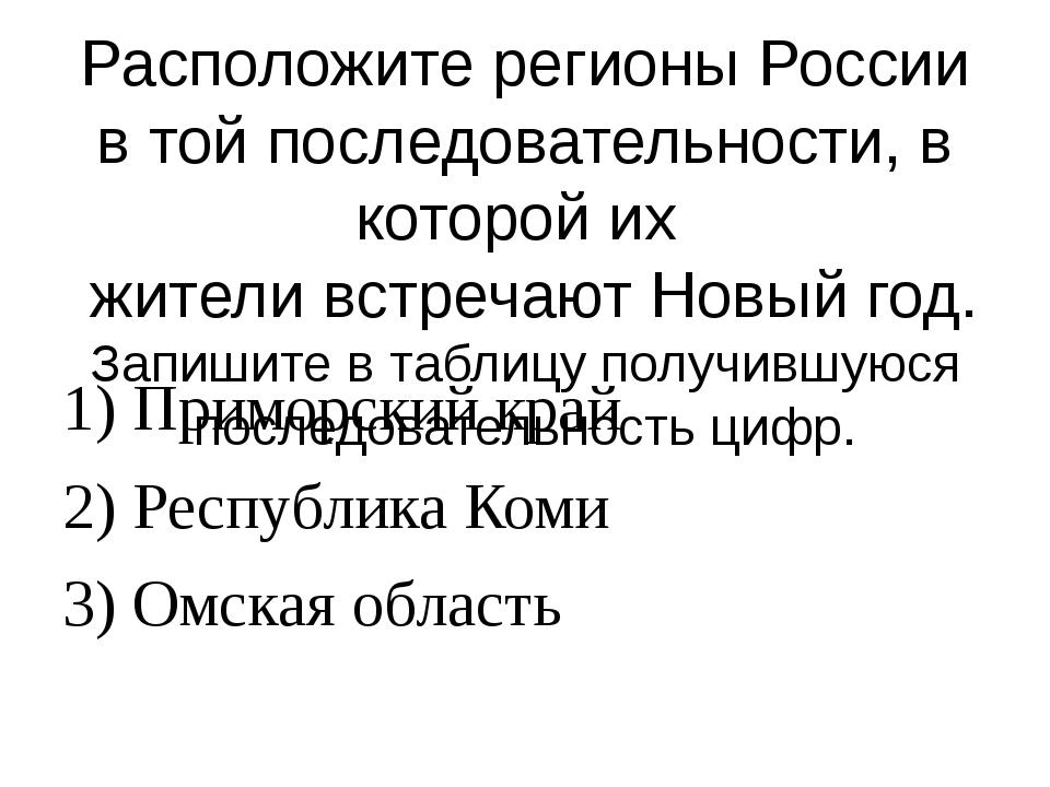 Расположите регионы России в той последовательности, в которой их жители встр...
