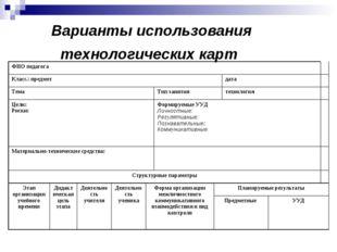 Варианты использования технологических карт ФИО педагога Класс.\ предметд