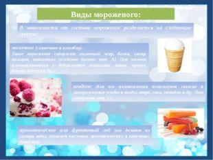 Виды мороженого: молочное (сливочное и пломбир). Такое мороженое содержит мол