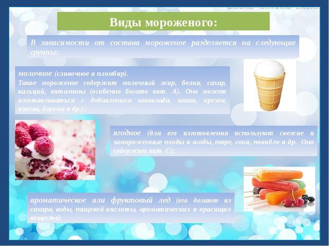 Виды мороженого: молочное (сливочное и пломбир). Такое мороженое содержит мол...
