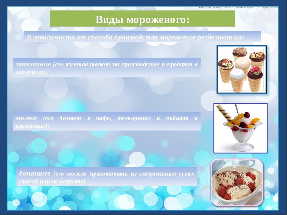 Виды мороженого: закаленное (его изготавливают на производстве и продают в ма...