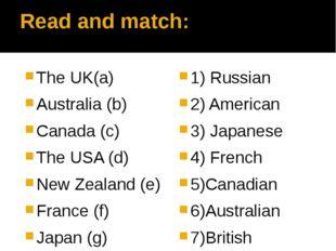 Read and match: The UK(a) Australia (b) Canada (c) The USA (d) New Zealand (e