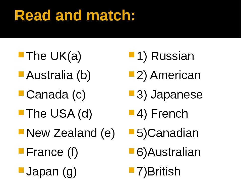 Read and match: The UK(a) Australia (b) Canada (c) The USA (d) New Zealand (e...