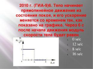 2010 г. (ГИА-9)6. Тело начинает прямолинейное движение из состояния покоя, и