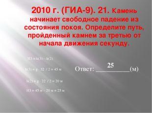 2010 г. (ГИА-9). 21. Камень начинает свободное падение из состояния покоя. Оп