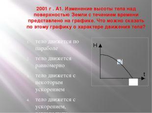 2001 г . А1. Изменение высоты тела над поверхностью Земли с течением времени