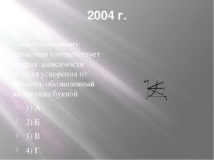 2004 г. Равноускоренному движению соответствует график зависимости модуля уск