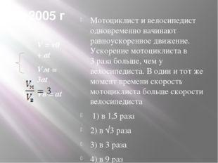 2005 г V = v0 + at Vм = 3at Vв = at Мотоциклист и велосипедист одновременно н