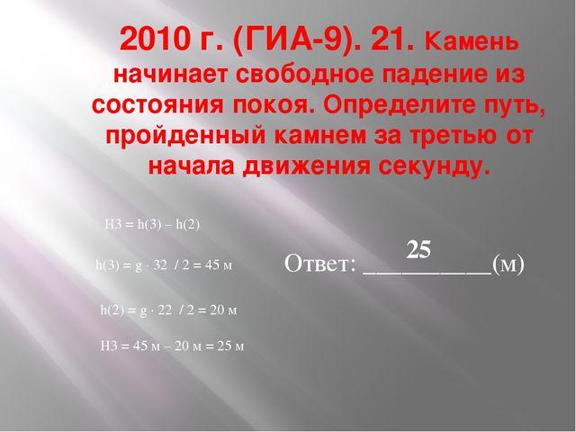2010 г. (ГИА-9). 21. Камень начинает свободное падение из состояния покоя. Оп...