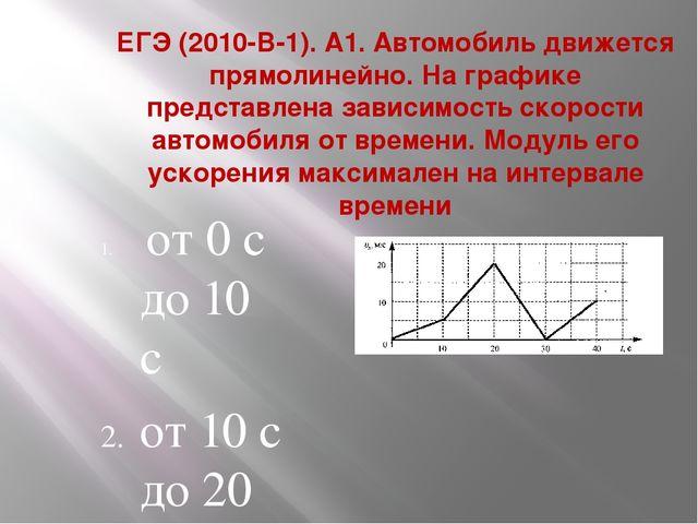 ЕГЭ (2010-В-1). А1. Автомобиль движется прямолинейно. На графике представлена...
