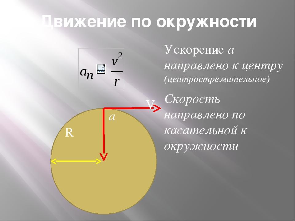 Движение по окружности Ускорение а направлено к центру (центростремительное)...