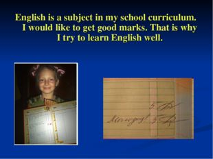 English is a subject in my school curriculum. I would like to get good marks.