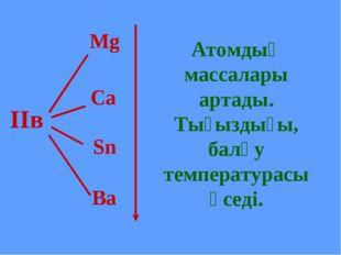 Mg Ca Sn Ba ІІв Атомдық массалары артады. Тығыздығы, балқу температурасы өсе