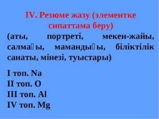 IV. Резюме жазу (элементке сипаттама беру) (аты, портреті, мекен-жайы, салмағ