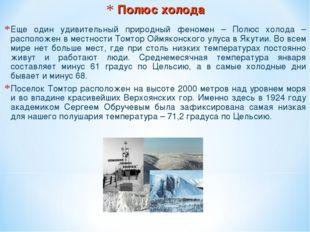 Полюс холода Еще один удивительный природный феномен – Полюс холода – располо