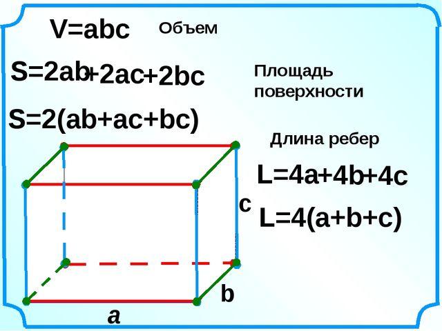 a c V=abc S=2ab S=2(ab+ac+bc) L=4(a+b+c) L=4a b Объем Площадь поверхности Дл...