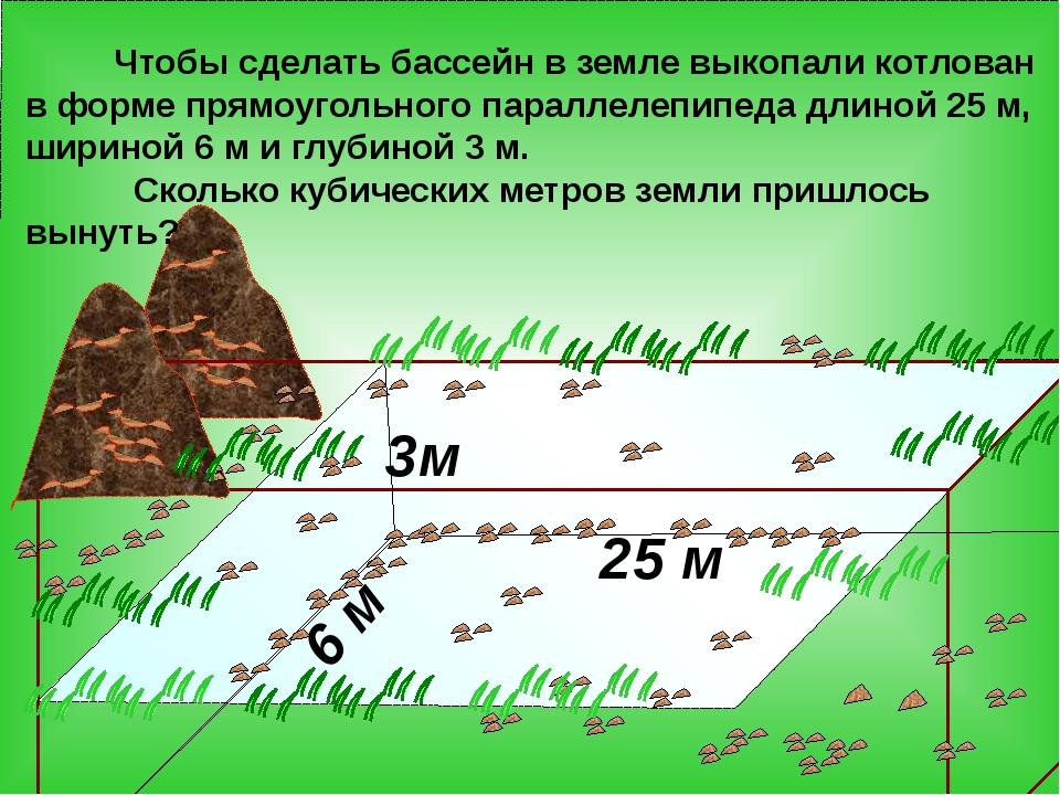 3м 25 м 6 м Чтобы сделать бассейн в земле выкопали котлован в форме прямоуго...
