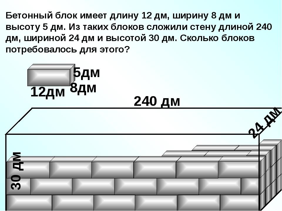 Бетонный блок имеет длину 12 дм, ширину 8 дм и высоту 5 дм. Из таких блоков...