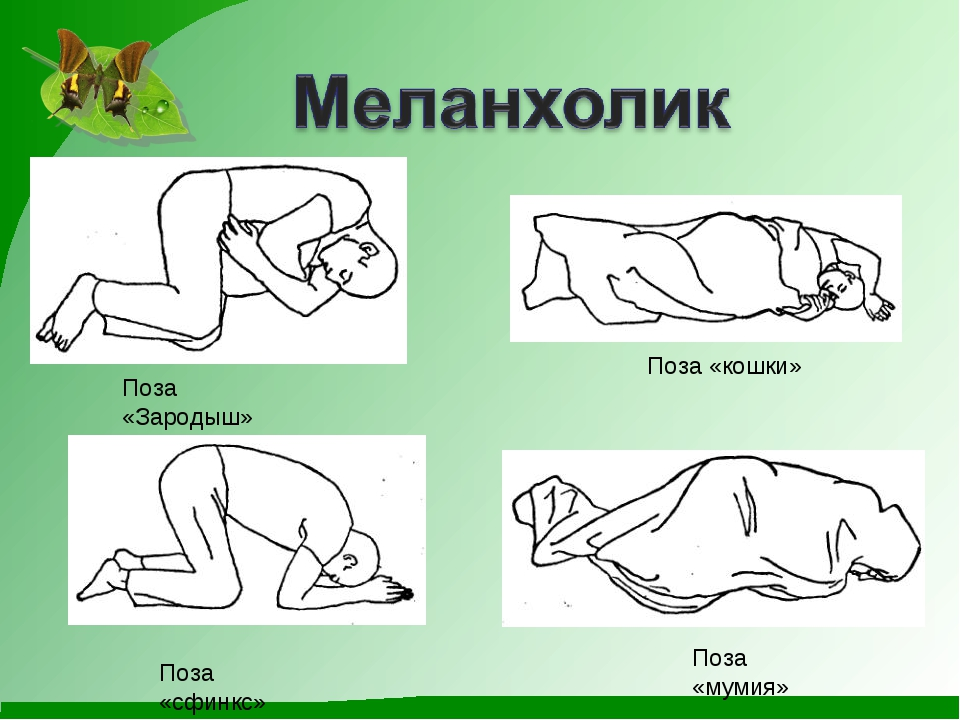 Поза «Зародыш» Поза «мумия» Поза «сфинкс» Поза «кошки»
