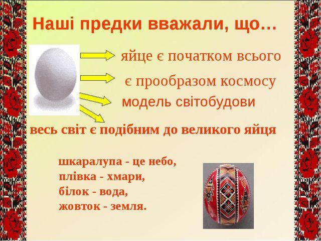 яйце є початком всього є прообразом космосу весь світ є подібним до великого...