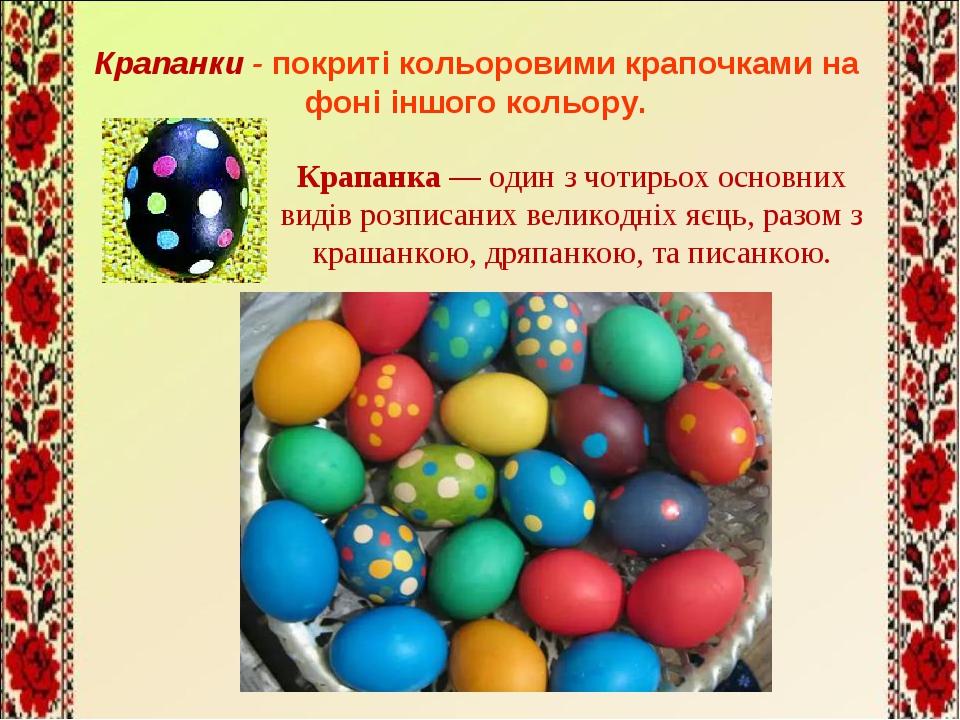 Крапанка — один з чотирьох основних видів розписаних великодніх яєць, разом з...