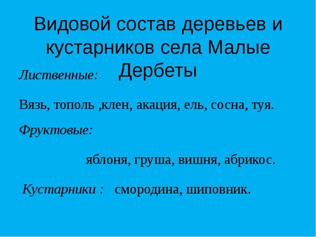 Видовой состав деревьев и кустарников села Малые Дербеты Лиственные: Вязь, то...