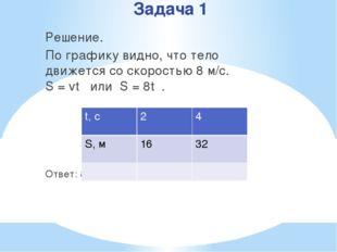 Задача 1 Решение. По графику видно, что тело движется со скоростью 8 м/с. S =