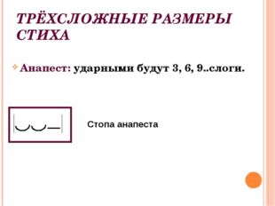 ТРЁХСЛОЖНЫЕ РАЗМЕРЫ СТИХА Анапест: ударными будут 3, 6, 9..слоги. Стопа анапе