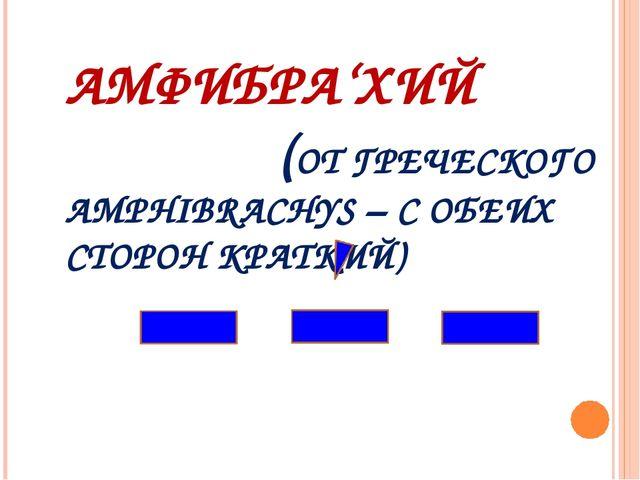 АМФИБРА'ХИЙ (ОТ ГРЕЧЕСКОГО AMPHIBRACHYS – С ОБЕИХ СТОРОН КРАТКИЙ)