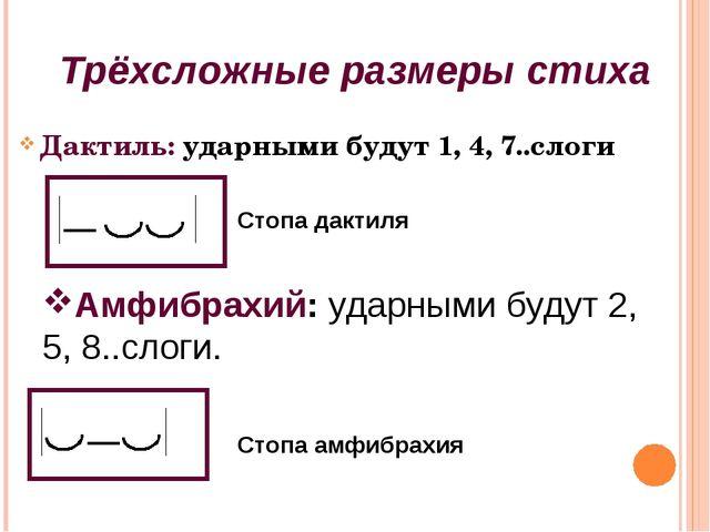 Дактиль: ударными будут 1, 4, 7..слоги Трёхсложные размеры стиха Стопа дактил...