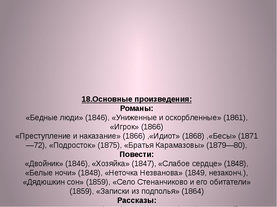 18.Основные произведения: Романы: «Бедные люди» (1846), «Униженные и оскорбле...